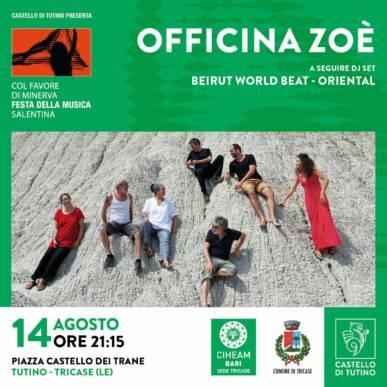 Officina Zoè – Col favore di Minerva, Festa della musica salentina @ Castello di Tutino – 14/08/21